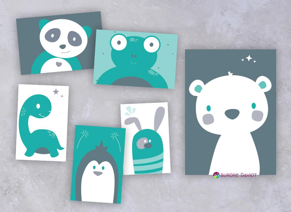 Illustrations pour décorer la chambre de bébé