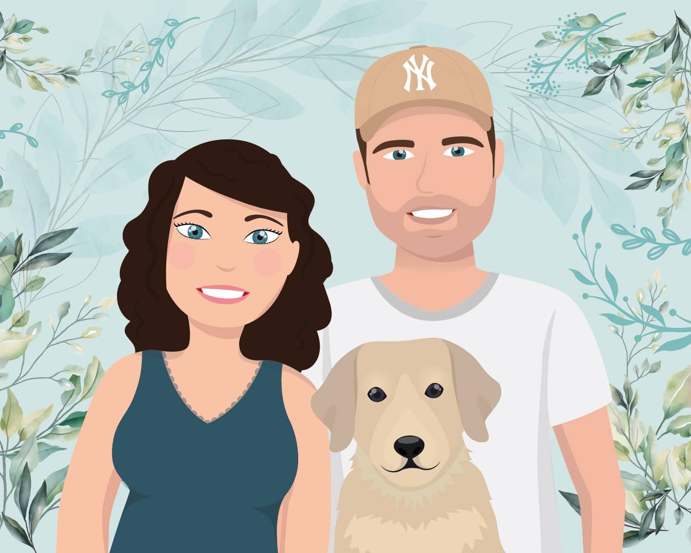 Portrait de famille Maëva, Antoine et leur chien