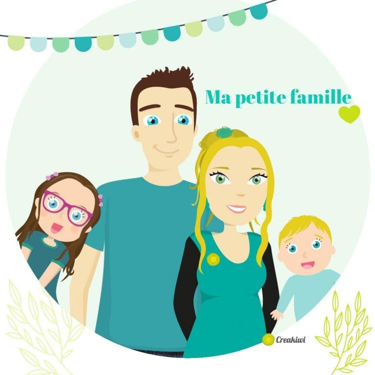 Ma petite famille à moi - illustration de famille personalisée Aurore